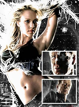 Jessica Alba, Bruce Willis, and Mickey Rourke in Sin City