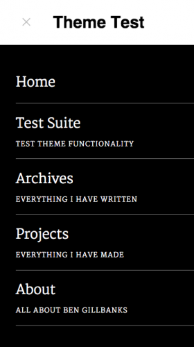 An example of the menu descriptions visible on the upcoming redesign of the Binary Moon theme.