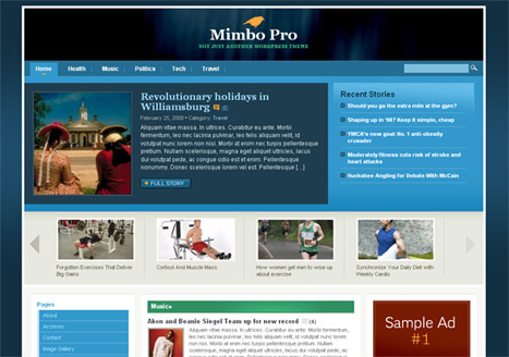 Mimbo Pro screenshot including the use of TimThumb