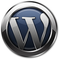 a very shiny version of the WordPress logo